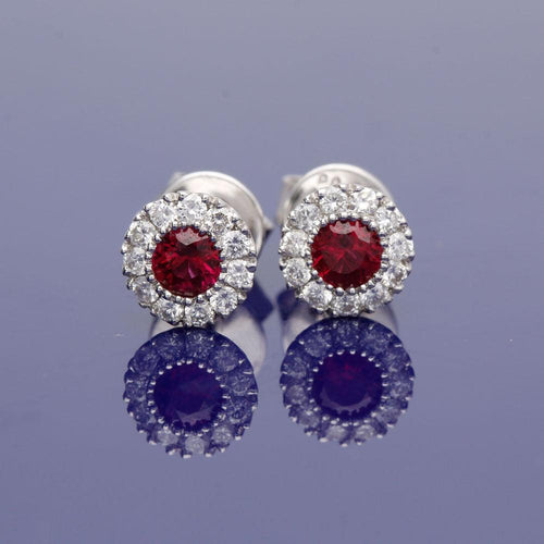 18ct White Gold Ruby and Diamond Stud Earrings