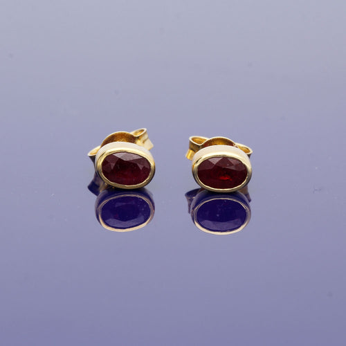 18ct Yellow Gold and Ruby Stud Earrings