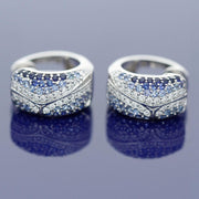 18ct White Gold Diamond and Sapphire Huggie Hoop Earrings