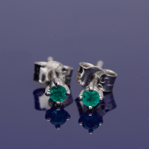 18ct White Gold and Emerald Stud Earrings