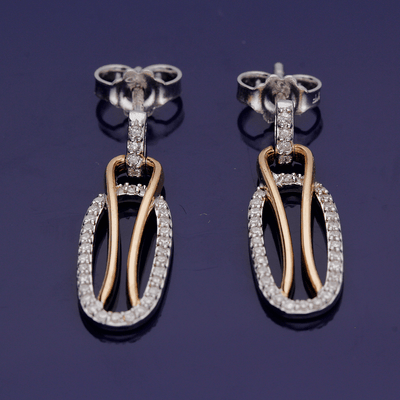 18ct White & Rose Gold Diamond Drop Earrings