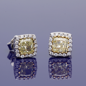 18ct White Gold Yellow and White Diamond Earrings