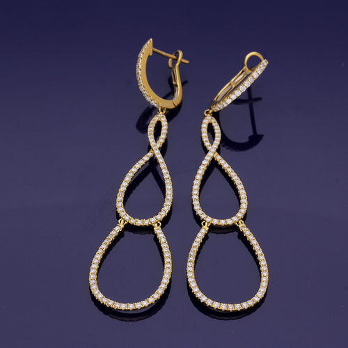 18ct yellow Gold and Diamond Pear Drop Hoop Earrings