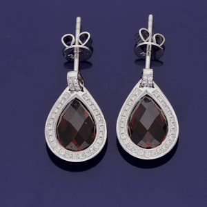 18ct White Gold Garnet and Diamond Earrings