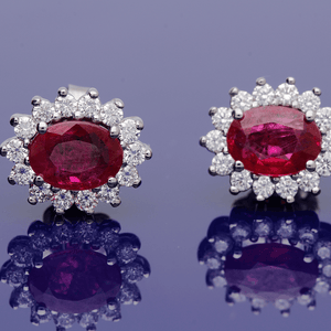 18ct Oval Ruby & Diamond Cluster Earrings