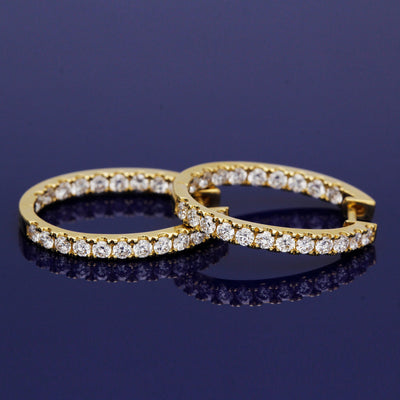 18ct Yellow Gold and Diamond Hoop Earrings