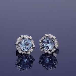 18ct White Gold Aquamarine and Diamond Cluster Stud Earrings