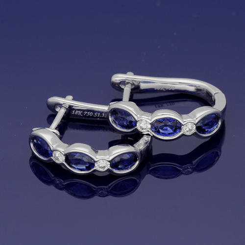 18ct White Gold Sapphire and Diamond Half Hoop Earrings