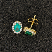 18ct Yellow Gold Emerald and Diamond Earrings