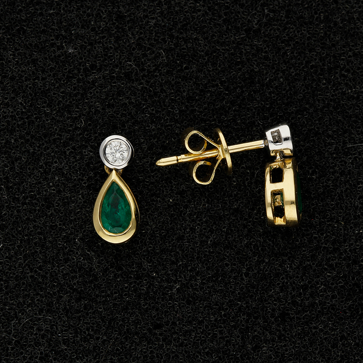 18ct Yellow Gold Emerald and Diamond Drop Earrings