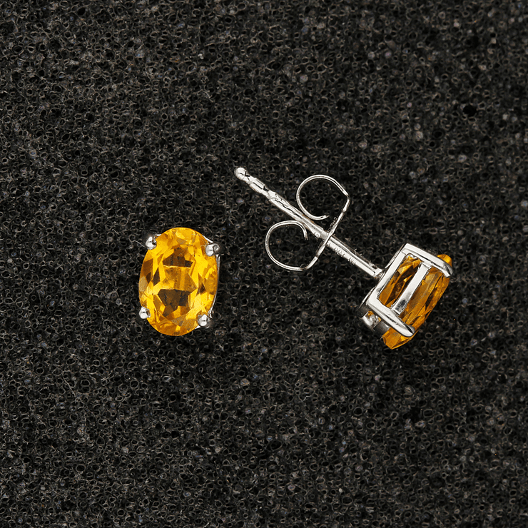 18ct White Gold Oval Cut Citrine Stud Earrings