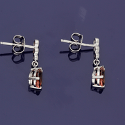 18ct White Gold Pink Tourmaline and Diamond Drop Earrings