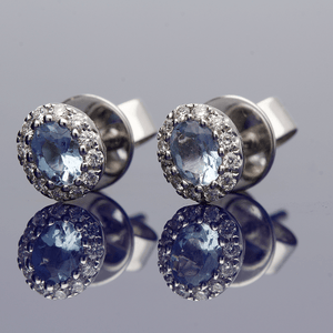 18ct White Gold Aquamarine and Diamond Earrings