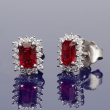18ct White Gold Emerald Cut Ruby & Diamond Cluster Earring