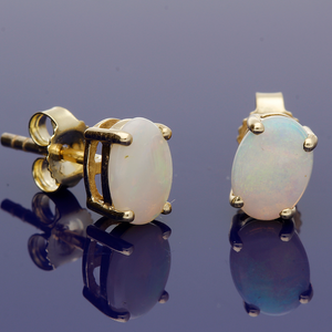 9ct Yellow Gold Opal Earrings