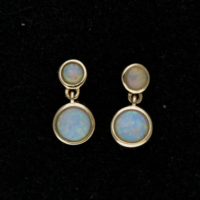 9ct Yellow Gold Opal Drop Earrings