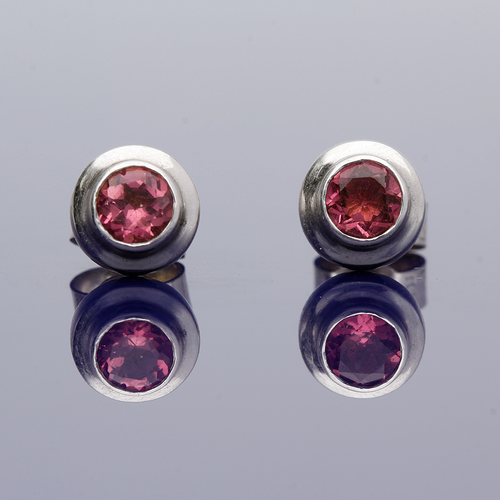 9ct White Gold Pink Sapphire Stud Earrings
