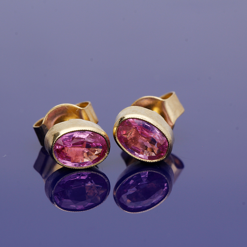 9ct Yellow Gold Pink Sapphire Oval Stud Earrings