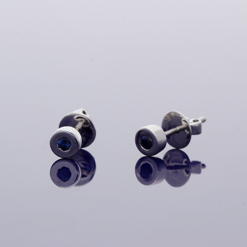 9ct White Gold Sapphire Rub Over Stud Earrings