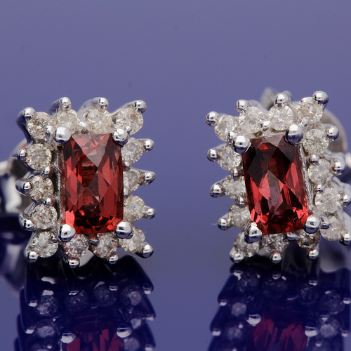 9ct White Gold Emerald Cut Garnet and Diamond Cluster Earrings