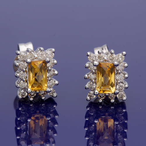 9ct White Gold Emerald Cut Citrine and Diamond Cluster Earrings