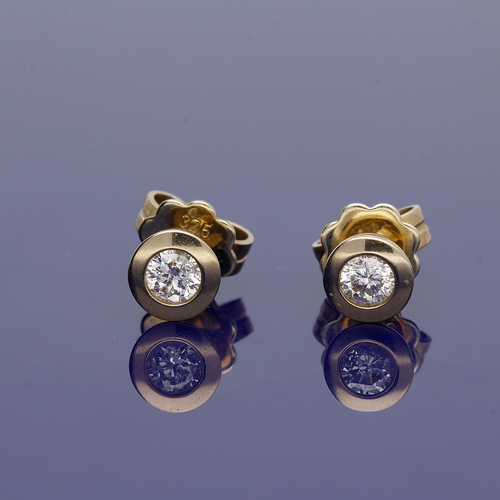 9ct Yellow Gold and Diamond Stud Earrings