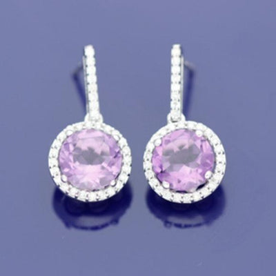 9ct White Gold Amethyst & Diamond Cluster Drop Earrings