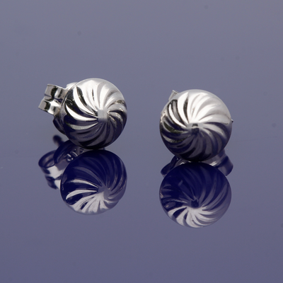 9ct White Spiral Pattern Stud Earrings