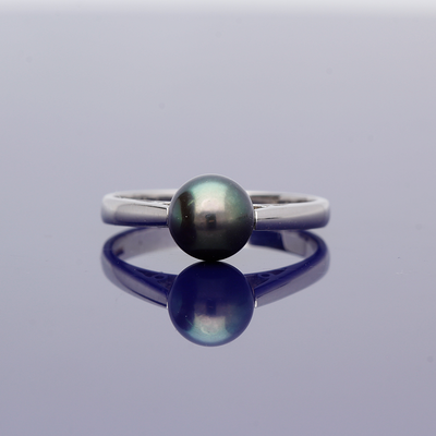 9ct White Gold Black Cultured Pearl Ring