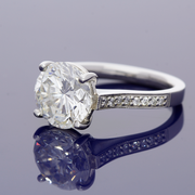 Platinum Certificated 3.76ct Diamond Solitaire Ring  with Diamond Set Shoulders