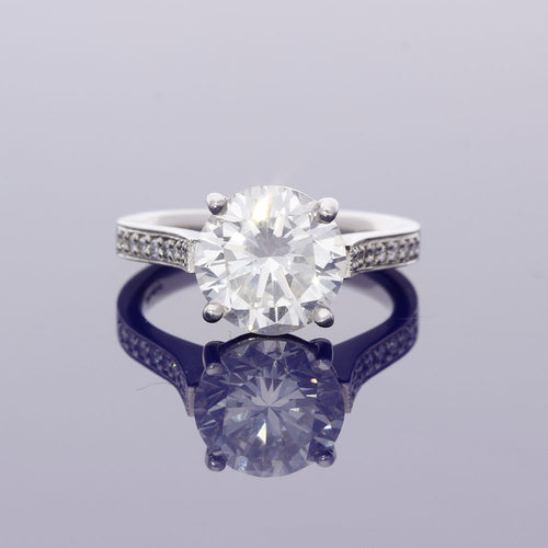 Platinum 3.76ct Diamond Solitaire Ring  with Diamond Set Shoulders