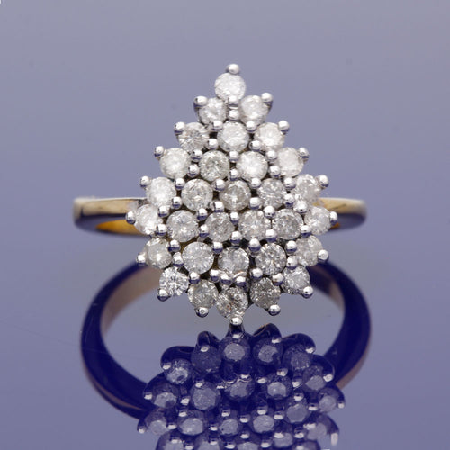 18ct Yellow Gold and Diamond Pear Shape Cluster Ring