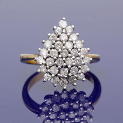 18ct Yellow Gold Diamond Pear Shape Cluster Ring