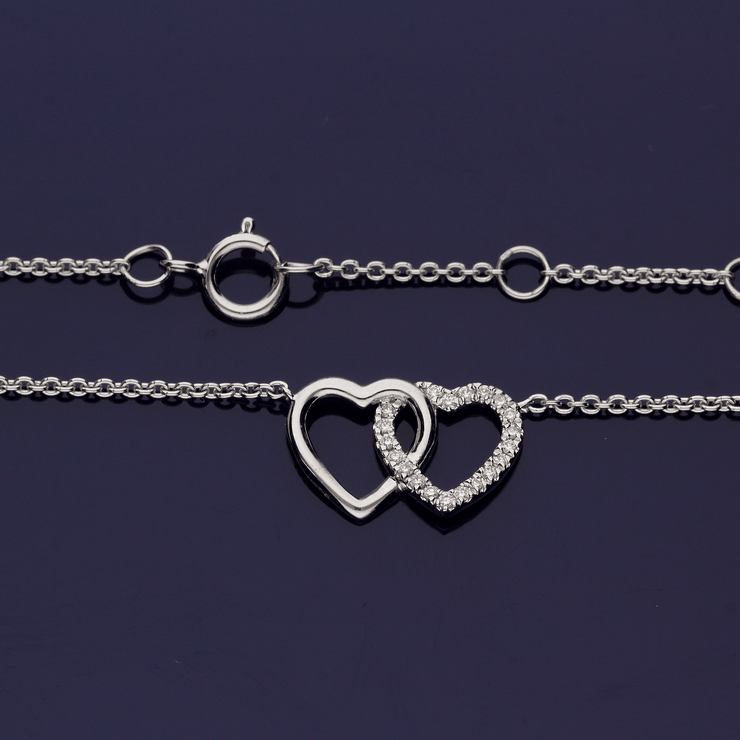 18ct White Gold Diamond Entwined Double Heart Necklace