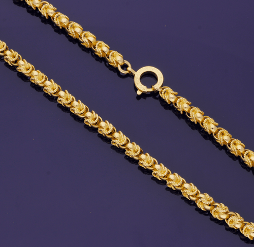 14ct Yellow Gold Double Fancy Link Solid Chain – 31 inches