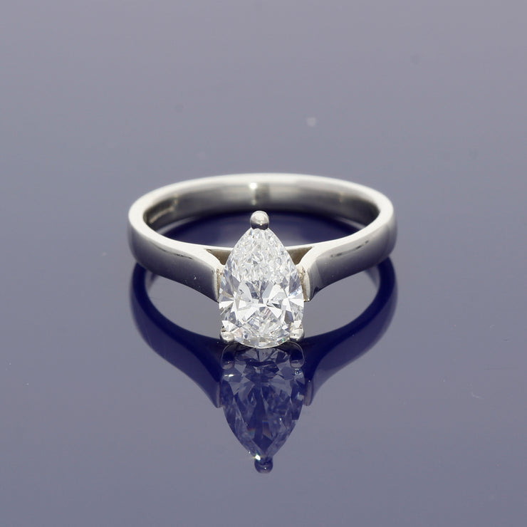 Platinum and Pear Shape Diamond Solitaire Ring