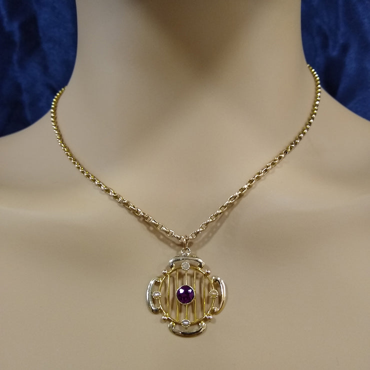9ct Rose Gold Seed Pearl and Purple Gemstone Vintage Necklace