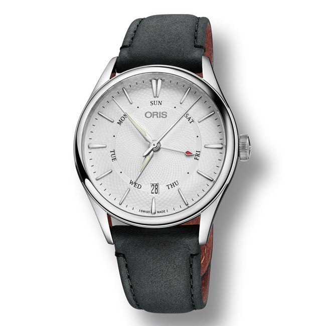 Oris Artelier Pointer Day & Date Automatic Men's Leather Strap Watch, 755-7742-4051