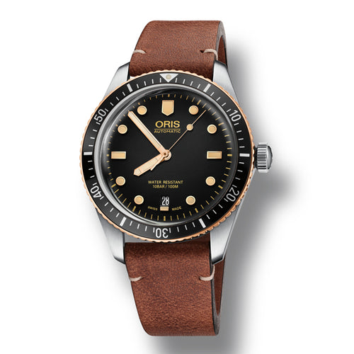 Oris Divers Sixty-Five Automatic Men's Brown Leather Strap Watch, 733-7707-4354