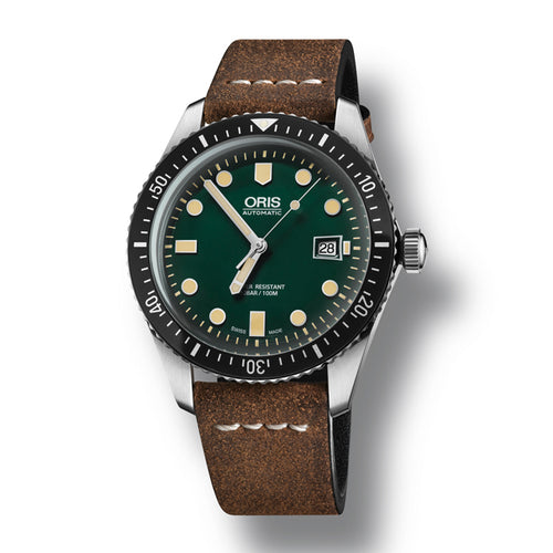 Oris Divers Sixty-Five Automatic Men's Brown Leather Strap Watch, 733-7720-4057