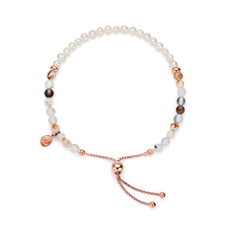 Jersey Pearl Sky Collection 4.5-5mm Freshwater Pearl and Montana Agate Bar Bracelet
