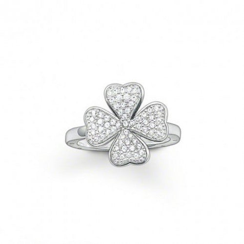 Thomas Sabo Sterling Silver Cubic Zirconia Four Leaf Clover Ring TR1913-051-14