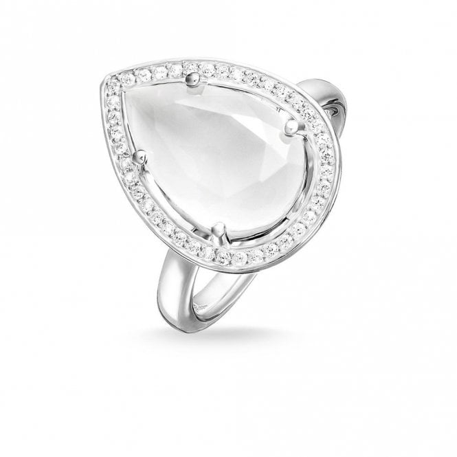 Thomas Sabo Sterling Silver Pear Shape Milky Quartz Maharani Ring TR2043-690-14