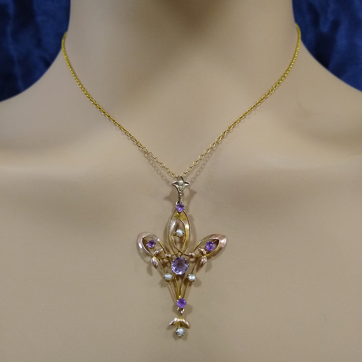 9ct Rose Gold Seed Pearl and Amethyst Vintage Necklace