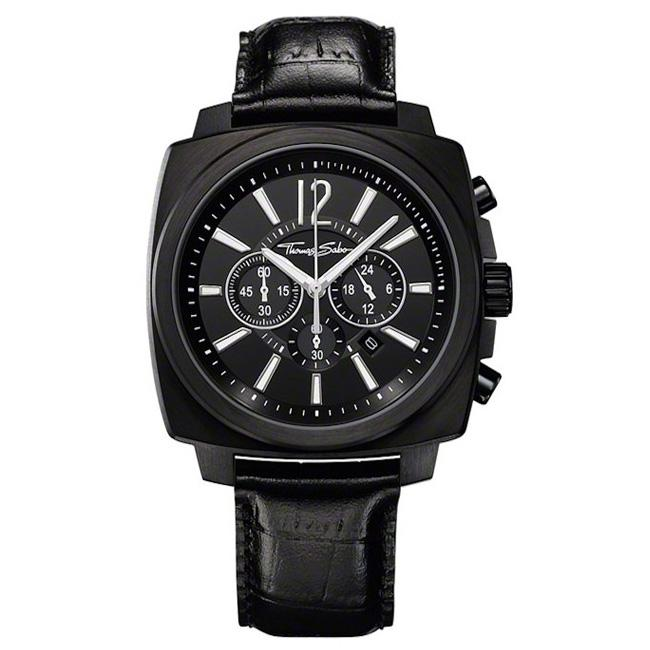 Men's Thomas Sabo Square Chronograph Leather Strap Watch