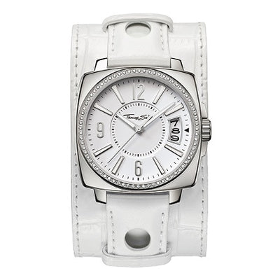 Ladies' Thomas Sabo Square Date Leather Cuff Strap Watch, WA0087-215-202