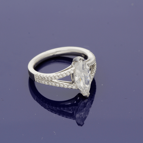 Platinum and Marquise cut Diamond Solitaire Ring