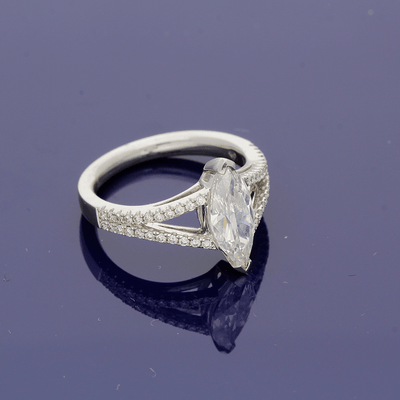 Platinum Marquise cut Diamond Solitaire Ring