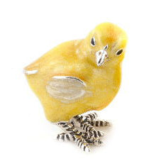 Silver and Enamel Yellow Chick Looking Right