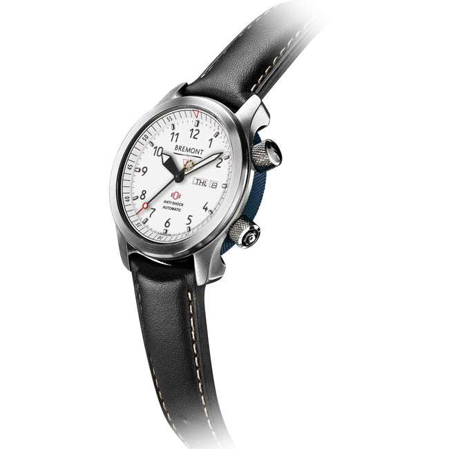 Bremont MBII Martin Baker Men's Automatic Stainless Steel Black Leather Strap Watch, MBII-WH/BL
